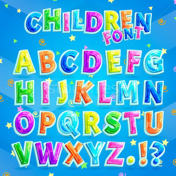 Children Font Illustration with Blue Background Stock photo © robuart