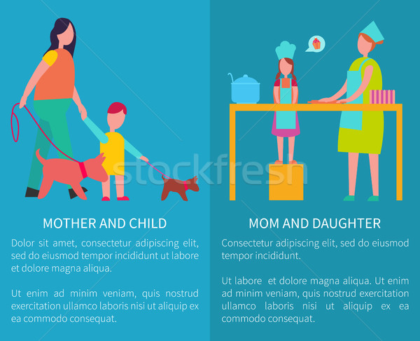 Mother and Daughter Cooking Isolated Illustration Stock photo © robuart