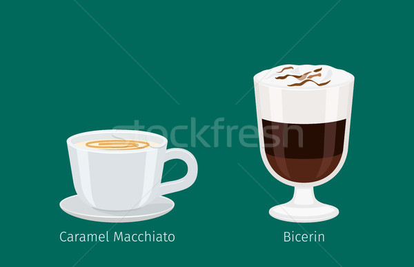 Coffee Drinks in Glass and Porcelain Cup Vectors Stock photo © robuart