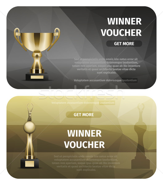 Two Black and Brown Winner Voucher with Gold Cups Stock photo © robuart