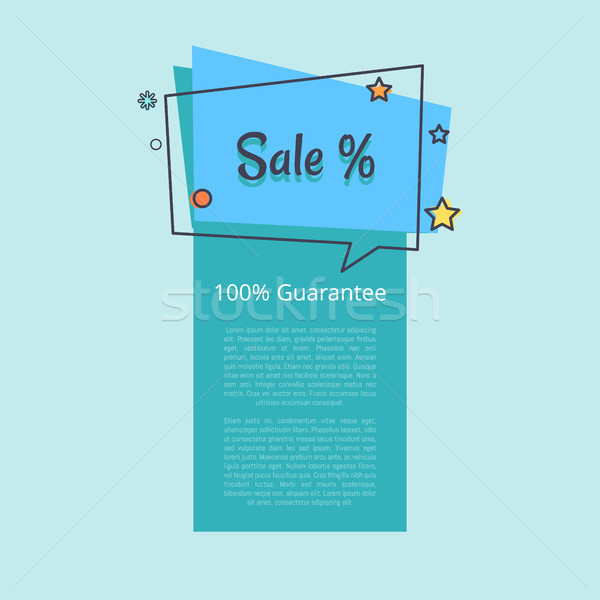 100 Guarantee Sale Banner in Square Speech Bubble Stock photo © robuart