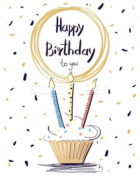 Joyeux anniversaire coloré affiche sweet gâteau Photo stock © robuart
