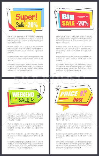 Weekend verkoop commerciële stickers posters ingesteld Stockfoto © robuart