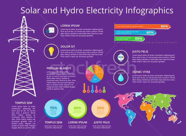 Solar and Hydro Electricity Vector Illustration Stock photo © robuart