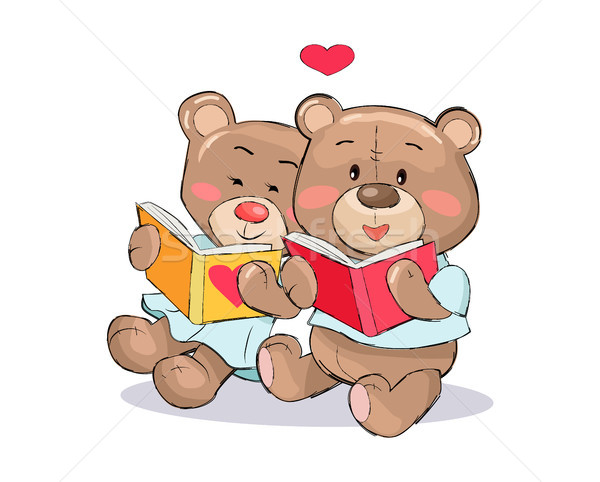 Stock photo: Teddy Bears Read Books with Heart Sign Vector