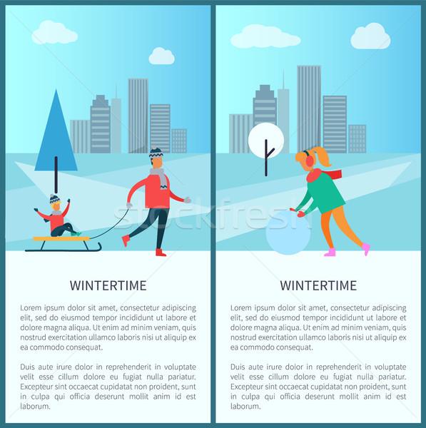 Wintertime and Cityscape Set Vector Illustration Stock photo © robuart