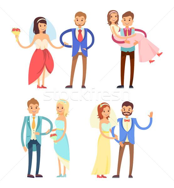 Mariées ensemble femme robe de mariée voile Photo stock © robuart