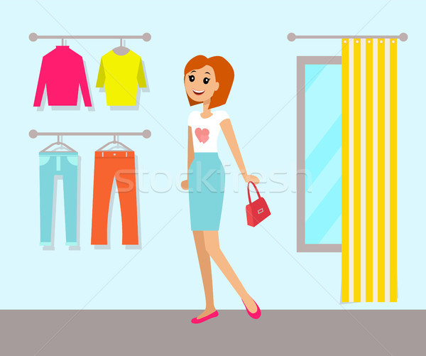 Clothing Store and Woman, Vector Illustration Stock photo © robuart