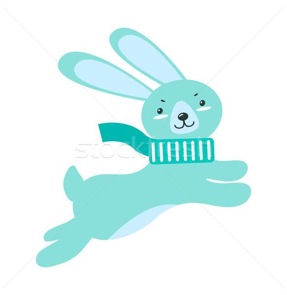 Pelucheux lapin longtemps oreilles chaud écharpe Photo stock © robuart