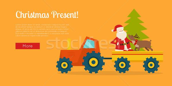 Natal apresentar cartaz trator bandeira Foto stock © robuart
