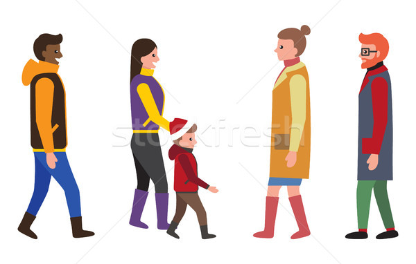 People Dressed in Warm Clothes Vector Illustration Stock photo © robuart