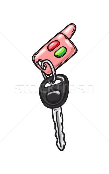Pembe araba anahtarları yalıtılmış örnek kırmızı Stok fotoğraf © robuart