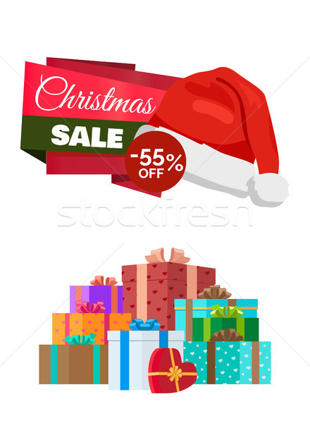 Christmas Sale Poster Promo Label Hat and Gifts Stock photo © robuart