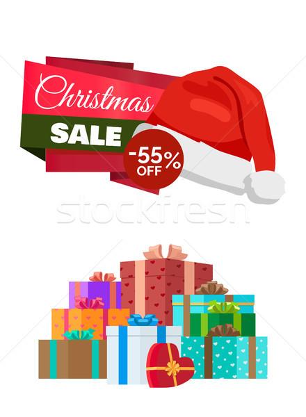 Christmas sprzedaży plakat promo etykiety hat Zdjęcia stock © robuart