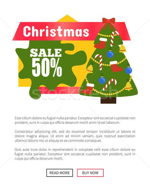 Stock photo: Christmas Half Price Sale Card Vector Illustration