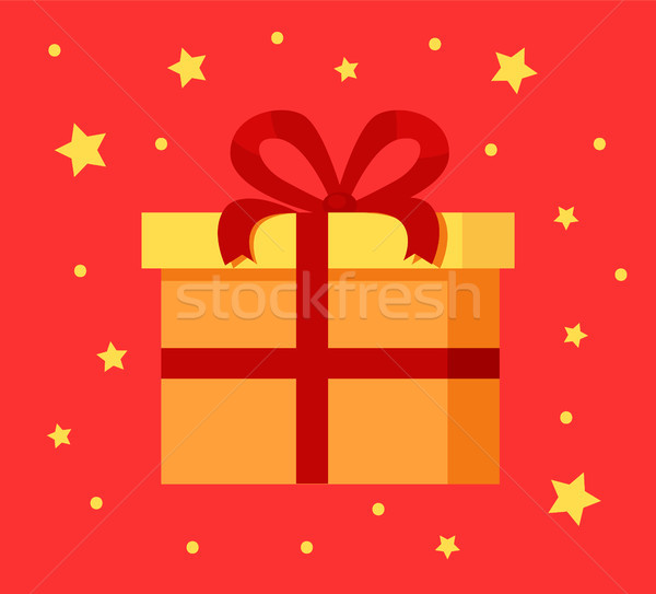 Present Gift Box in Decorative Wrapping Paper Icon Stock photo © robuart