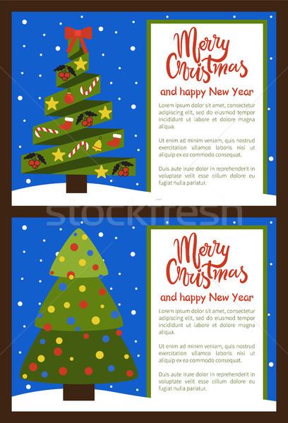 Stok fotoğraf: Neşeli · Noel · happy · new · year · posterler · ağaç · ayarlamak