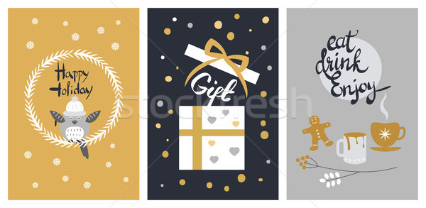 Happy Holiday Set of Giftbox and Cups with Biscuit Stock photo © robuart