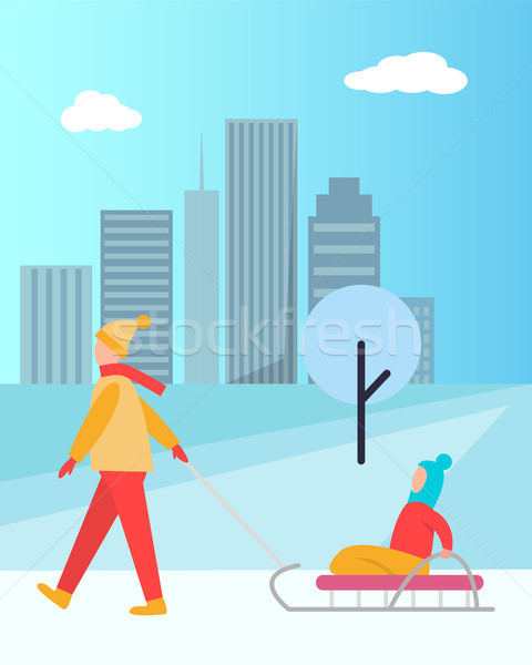 Father Carrying Child on Sledge Vector Isolated Stock photo © robuart