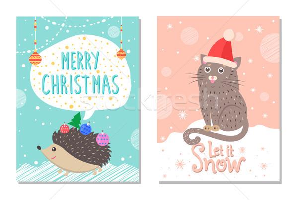снега плакат еж кошки Hat веселый Сток-фото © robuart