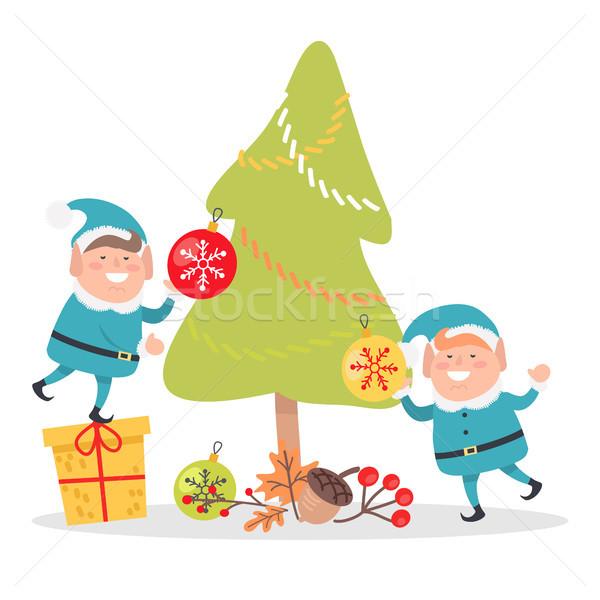 Kék mikulás öltönyök díszít karácsonyfa kettő Stock fotó © robuart