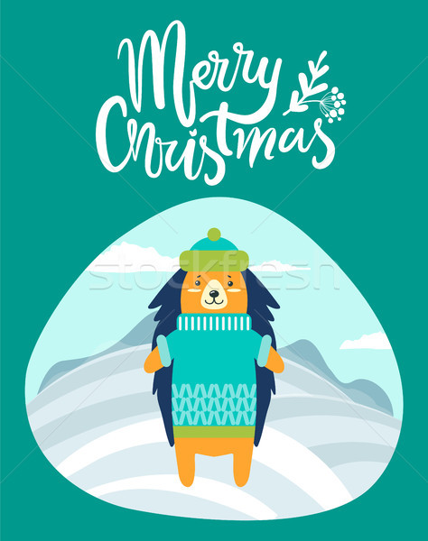 Vrolijk christmas wenskaart egel winter warm Stockfoto © robuart
