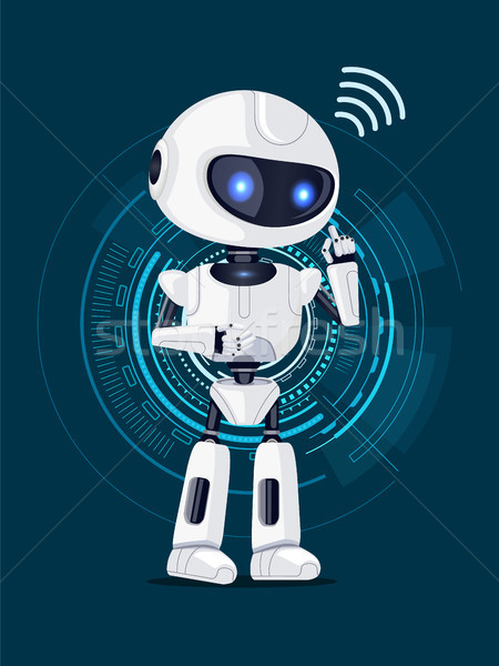 Robot and Interface Poster Vector Illustration Stock photo © robuart