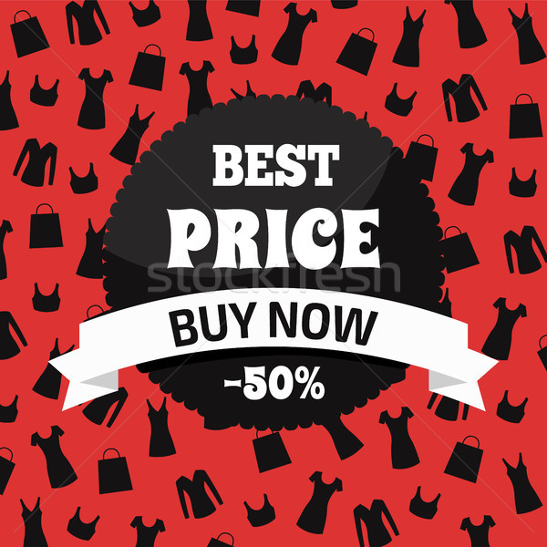 Best Price Buy Now, Red and Black Promotion Card Stock photo © robuart