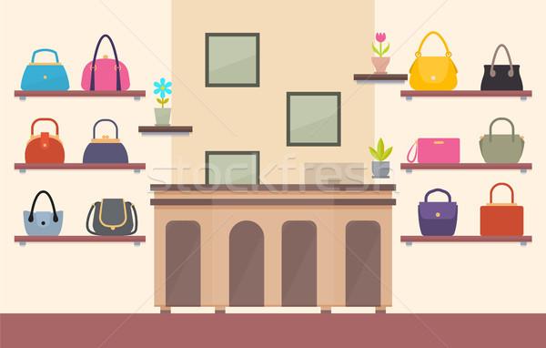 Armazenar cor cartão prateleiras rosa azul Foto stock © robuart