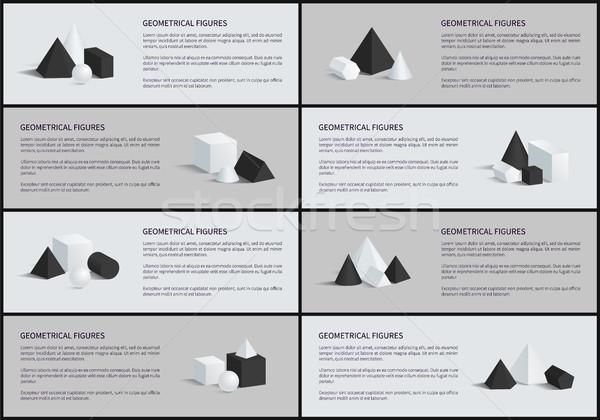 Geometrik metin örnek piramit koni küre Stok fotoğraf © robuart