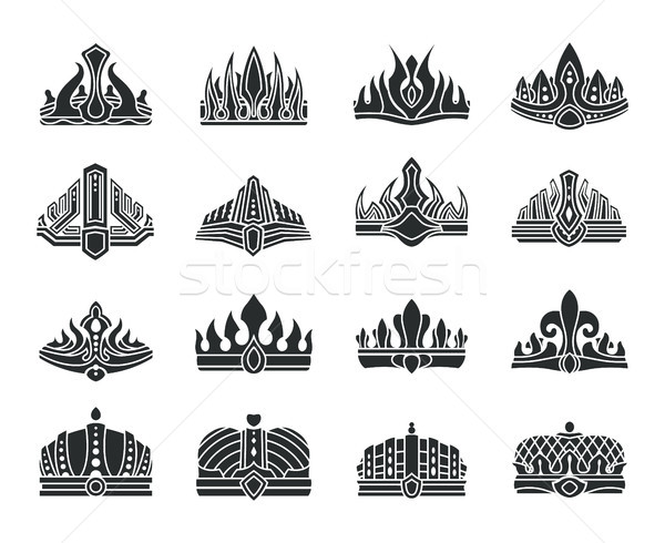 Royal Crowns with Unusual Design Monochrome Set Stock photo © robuart