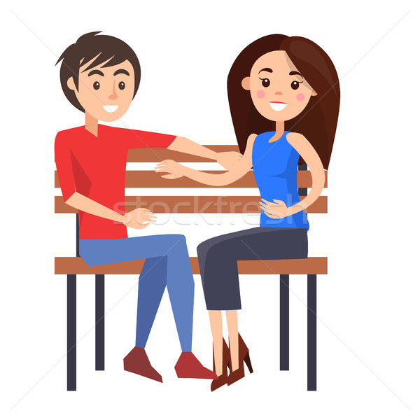 Young Couple Sits on Wooden Bench Illustration Stock photo © robuart