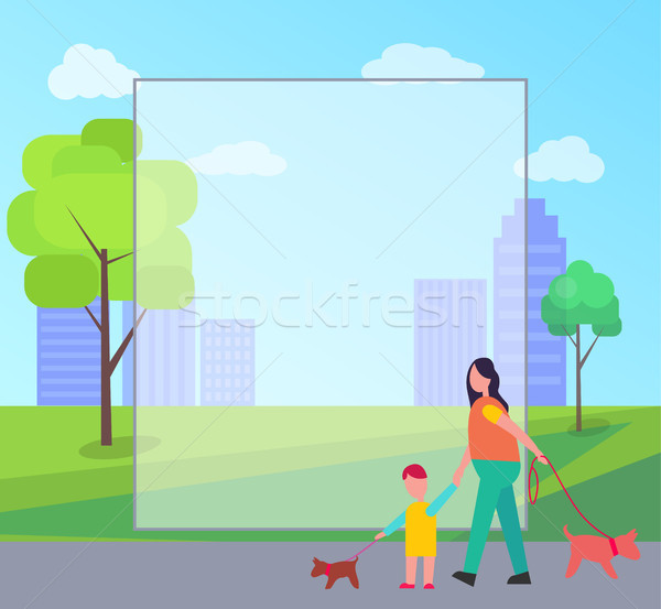 Mother and Son Walking Little Dogs Illustration Stock photo © robuart