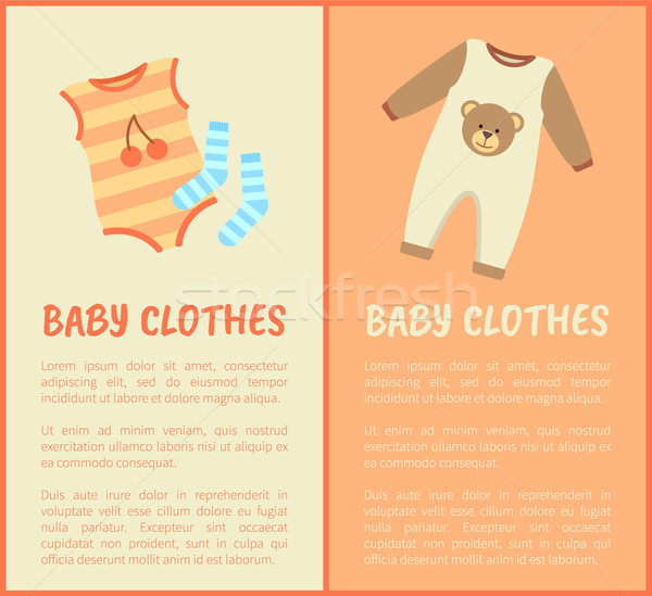 Baby Clothes, Striped Suit and Socks, Color Card Stock photo © robuart