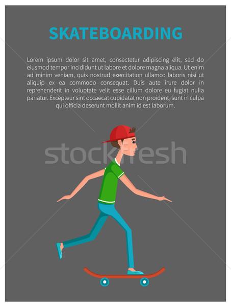 Skateboarding Poster Young Skateboarder Skateboard Stock photo © robuart