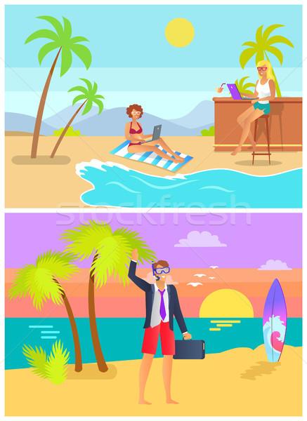 Man vrouw tropisch strand vector mannelijke kantoor Stockfoto © robuart