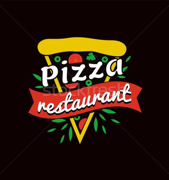 ízletes pizza étterem fényes promóciós logotípus Stock fotó © robuart