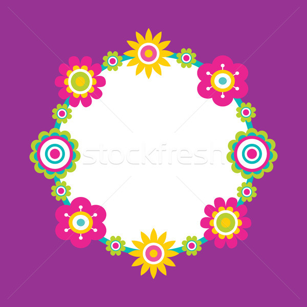 Frame Made of Abstract Flowers Geometric Blossoms Stock photo © robuart