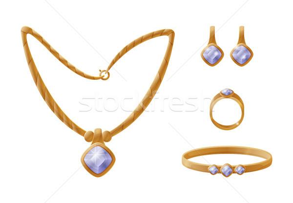 Lánc arany gyűrű szett fülbevalók karkötő Stock fotó © robuart