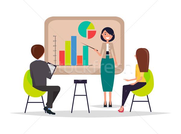 üzleti megbeszélés bemutató információ laptop diagram pite Stock fotó © robuart