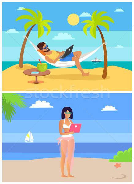 Werken man vrouw mensen laptops Stockfoto © robuart
