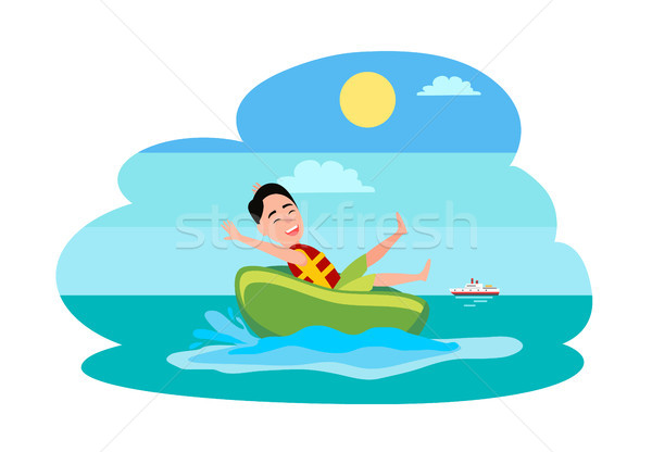 Donut Ride Watersport Activity Boy in Water Vector Stock photo © robuart