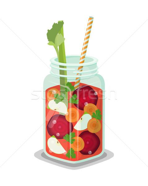 Detoxikáló frissítő egészséges koktél zöldségek szeletek Stock fotó © robuart
