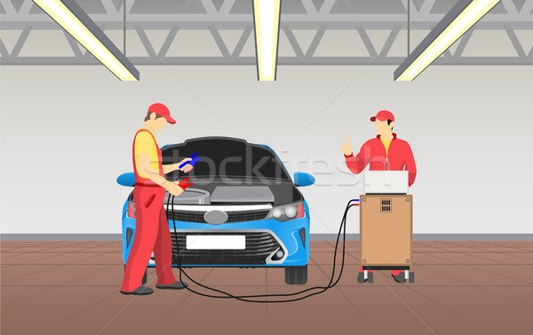 Car Service and Busy Workers Vector Illustration Stock photo © robuart