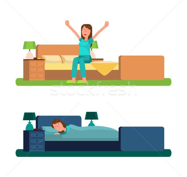 Lány reggel éjszaka hazugságok ágy nő Stock fotó © robuart