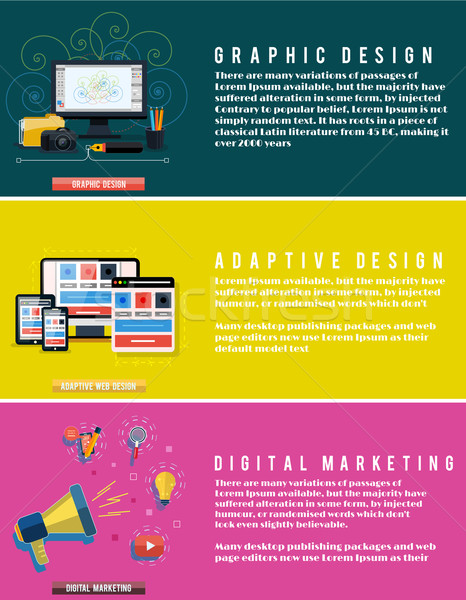 Icons for web design, seo, digital marketing Stock photo © robuart