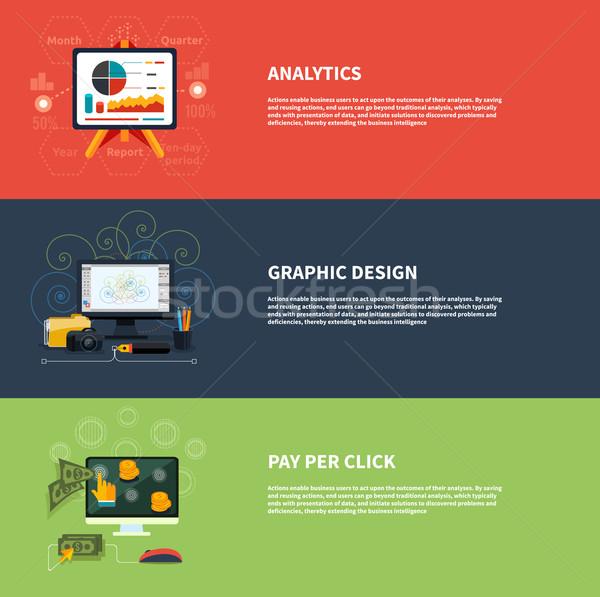 ícones web design analítica gráfico por Foto stock © robuart