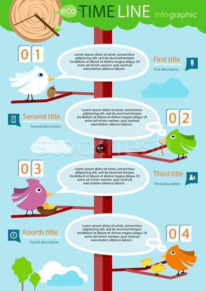 Idővonal infografika színes madarak fa négy Stock fotó © robuart
