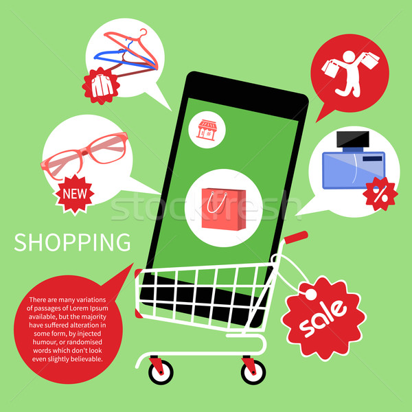 Online shopping cart with smartphone Stock photo © robuart