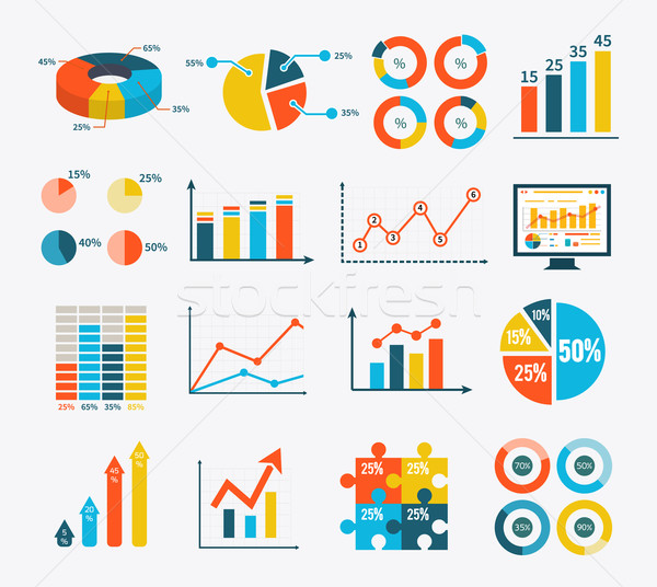 Infographic Set Graph and Charts, Diagrams Stock photo © robuart